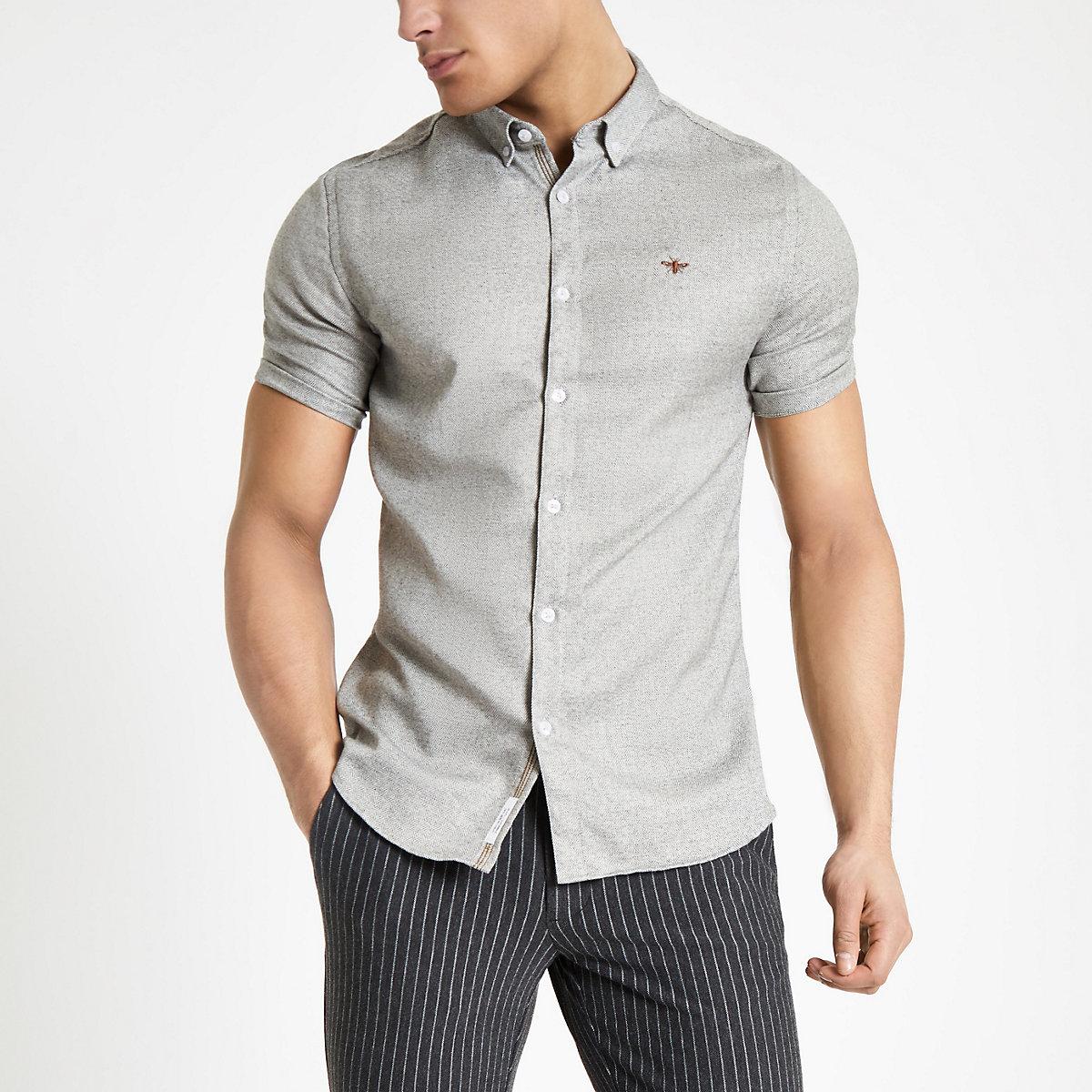 Light grey slim fit herringbone shirt