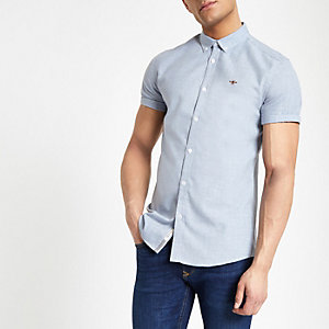Lichtblauw slim-fit overhemd met korte mouwen