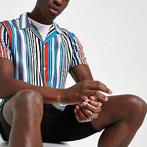 Blaues, gestreiftes Slim Fit Hemd mit kurzen Ärmeln