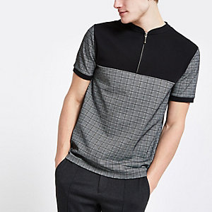 Grey check slim fit half zip polo shirt