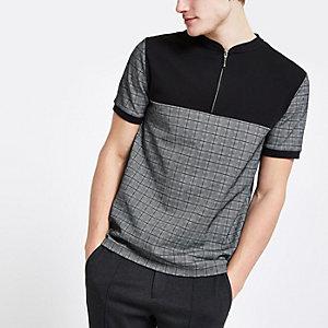 Grey check slim fit half zip polo shirt