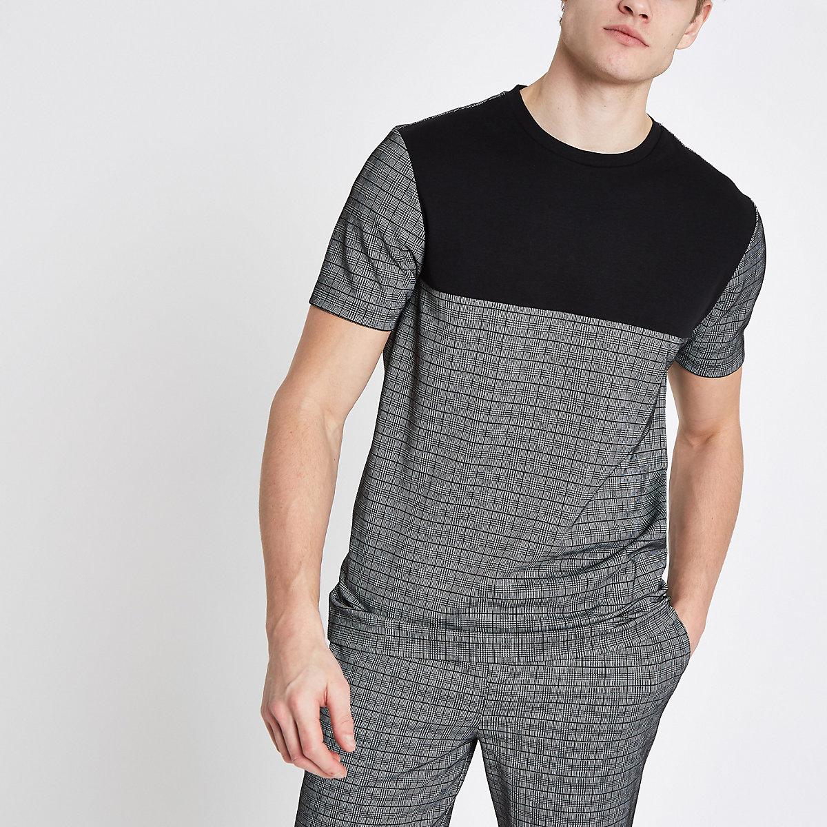 Grey slim fit check T-shirt