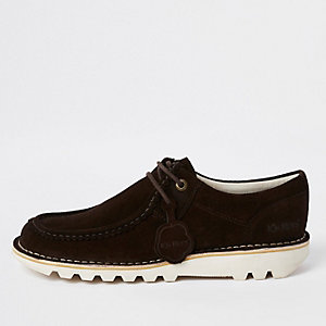 Kickers dark brown medium low suede shoes