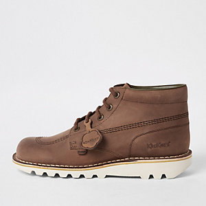 Kickers – Bottes en cuir marron à lacets