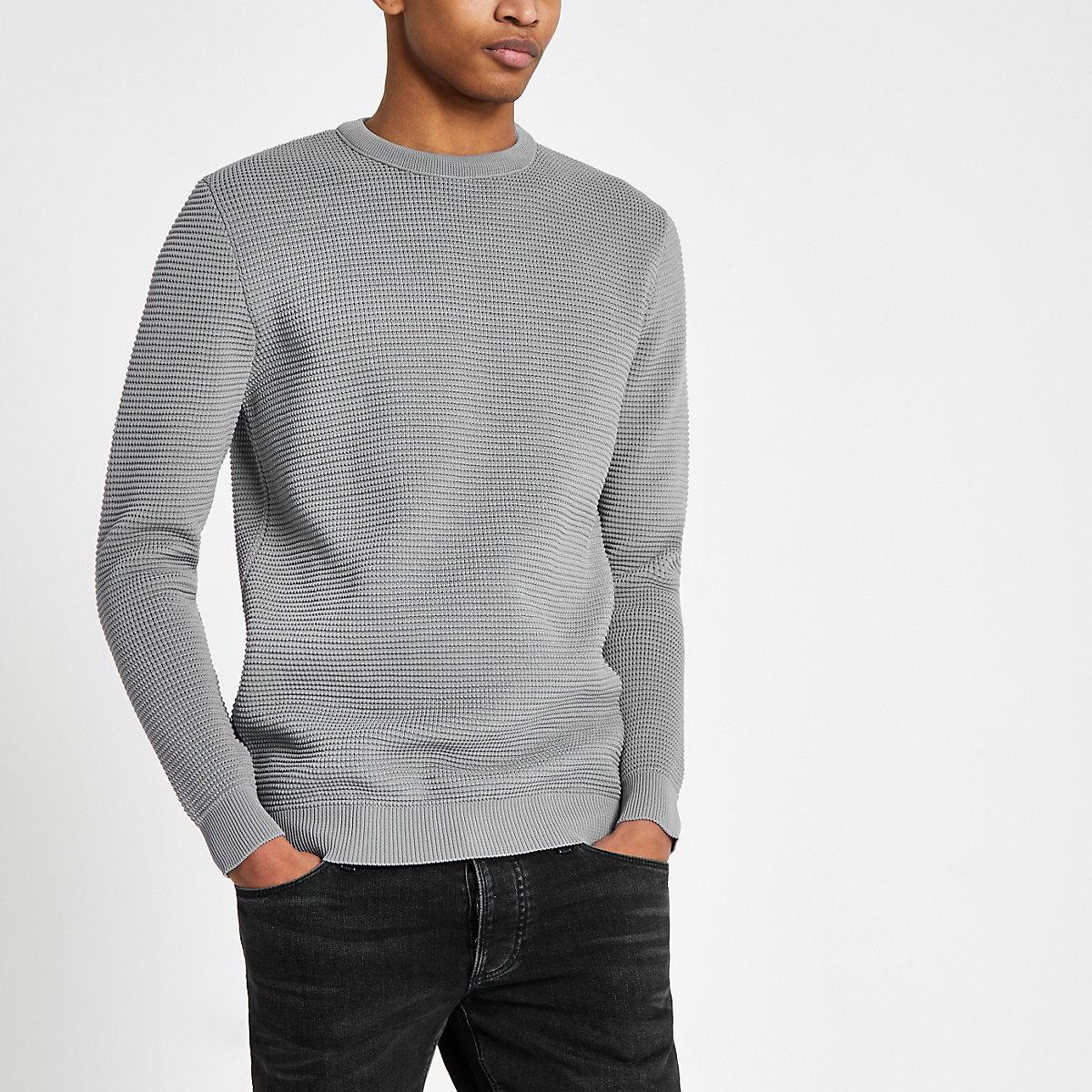 Grey textured slim fit sweater