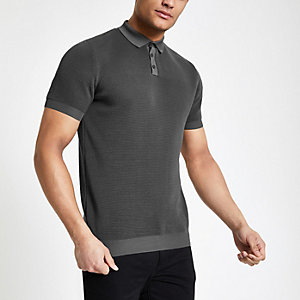Grey slim fit textured polo shirt