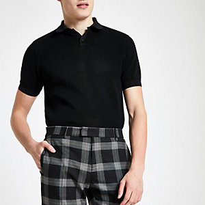 Black slim fit textured polo shirt