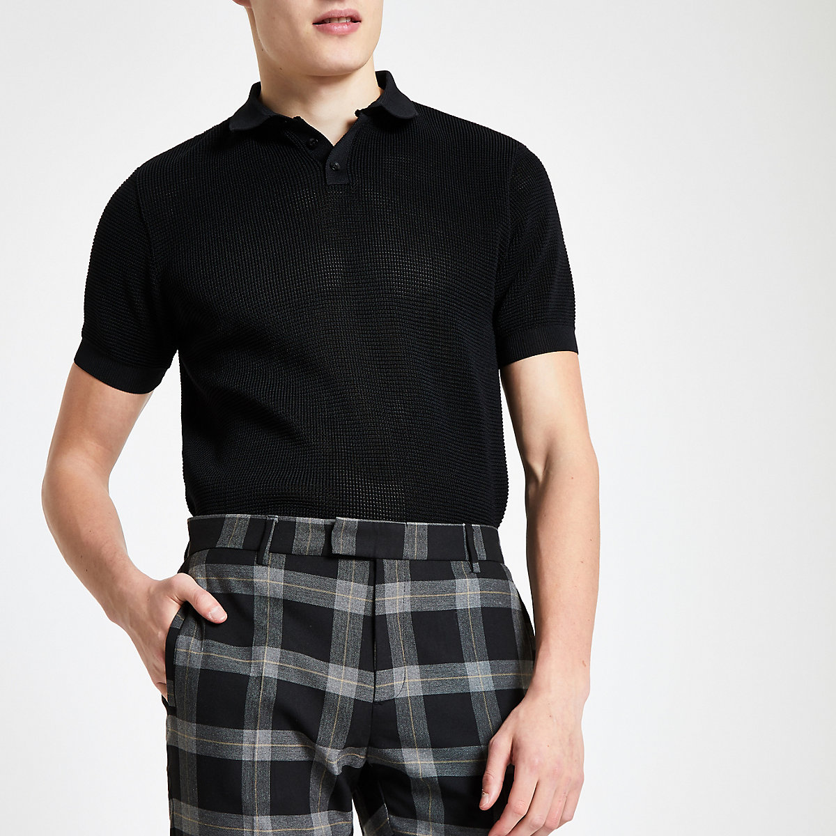 Black slim fit textured polo shirt