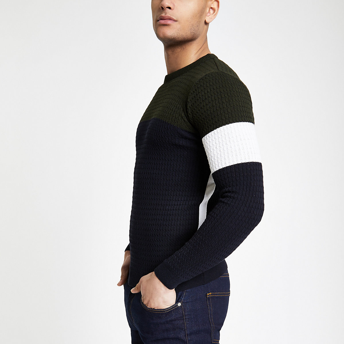 Navy block cable muscle fit sweater