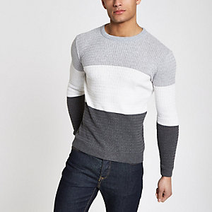 Grey cable block muscle fit sweater