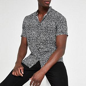 Zwart slim-fit overhemd met luipaardprint