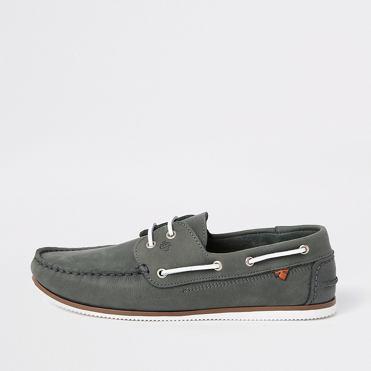 Grey tumbled leather boat shoes