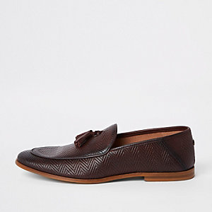 Burgundy leather wasp loafers