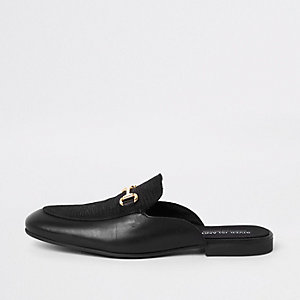 Zwarte leren loafers zonder achterkant