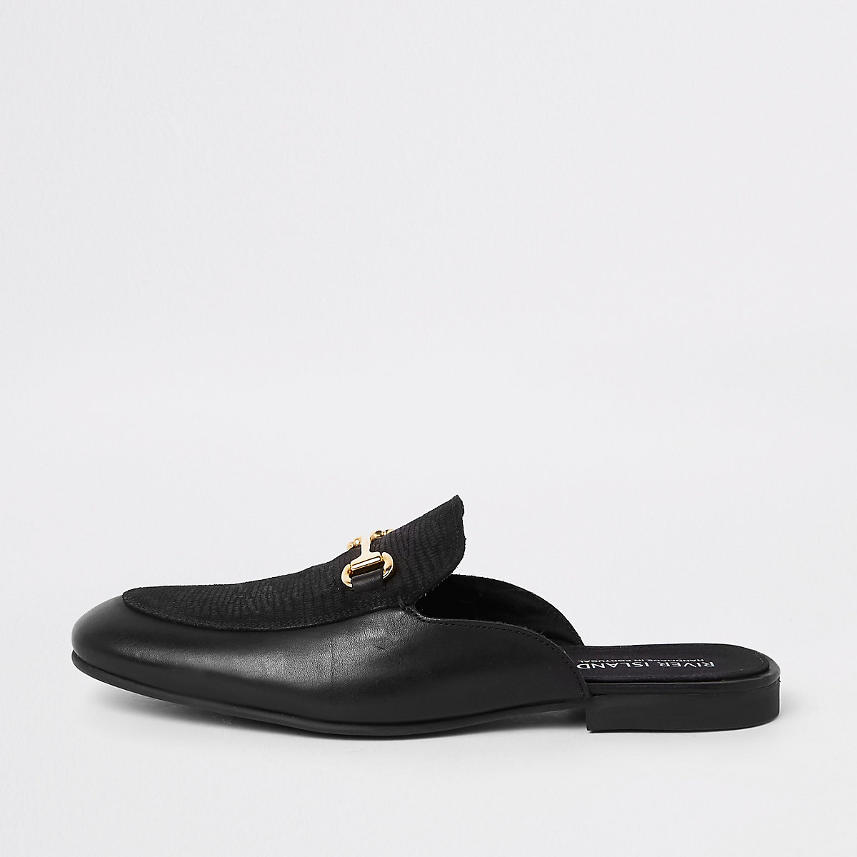 Black leather snaffle backless loafer