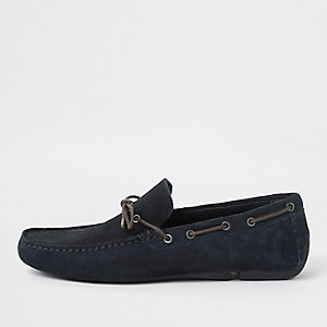Navy suede driver shoes