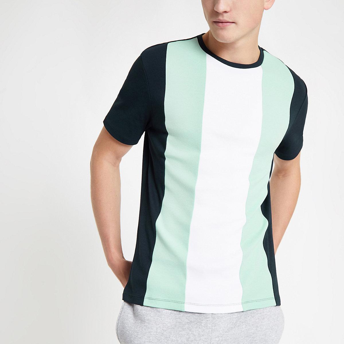 Navy slim fit vertical color block T-shirt