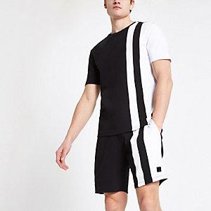 Schwarzes Slim Fit T-Shirt in Blockfarben