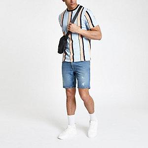 T-shirt rayé bleu clair