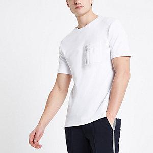 Wit utility T-shirt met rits en zakje