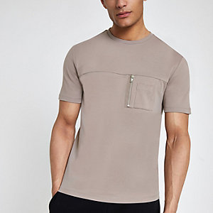 Brown slim fit zip pocket T-shirt