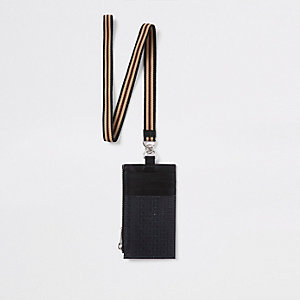 Black leather RI monogram lanyard