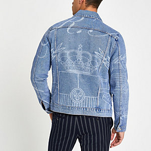 Middenblauw denim jack met laserprint