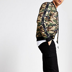 Green camo prolific bomber jacket