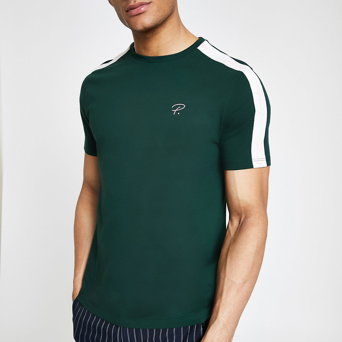 Green muscle fit 'Prolific' taped T-shirt