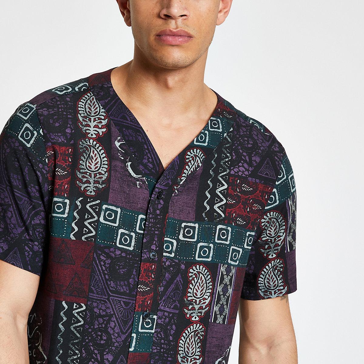 Purple mixed print baseball neck shirt