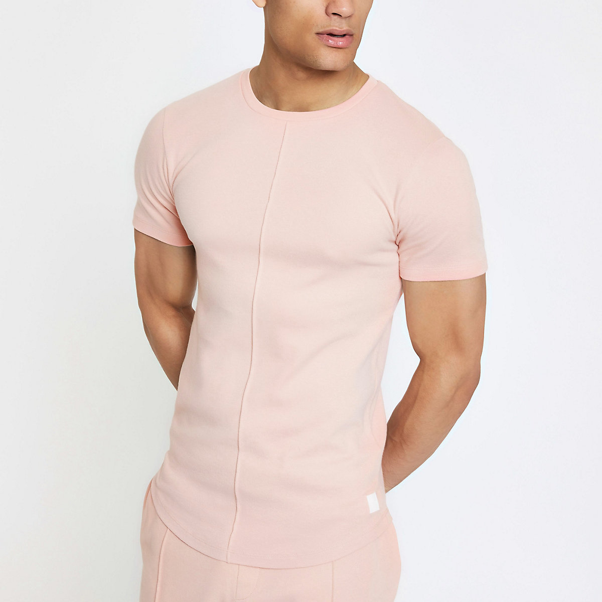 Pink muscle fit interlock T-shirt