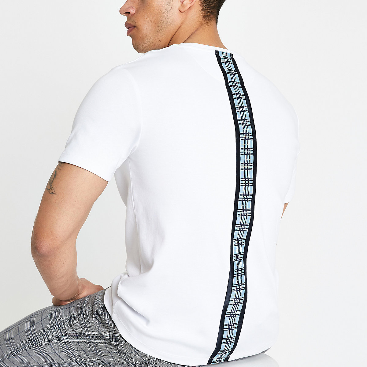 White check tape slim fit T-shirt