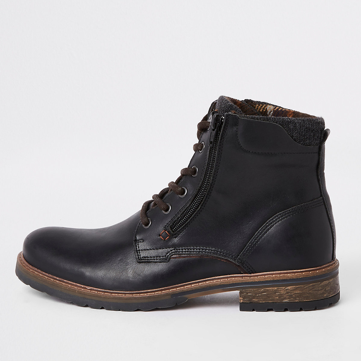 Black leather zip side lace-up boots