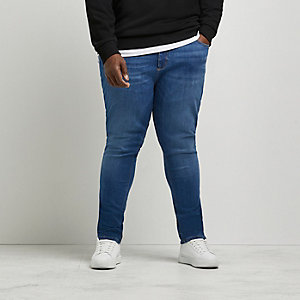 Big and Tall blue skinny straight leg jeans