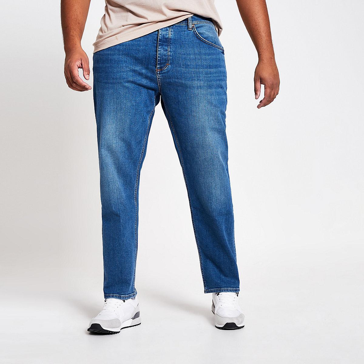 Big and Tall – Jean droit bleu moyen