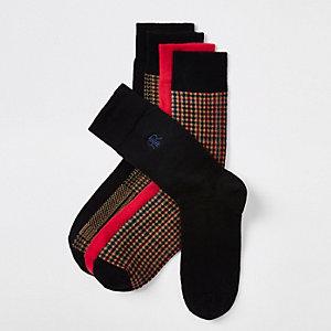 Lot de 5 paires de chaussettes à carreaux marron et logo RI