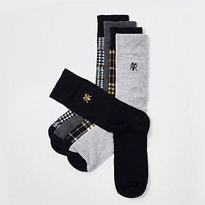Grey check socks 5 pack