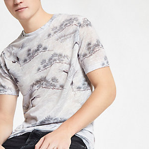 Graues Slim Fit T-Shirt mit Print