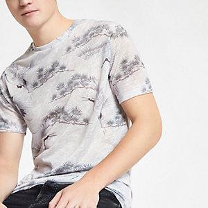 Grijs slim-fit T-shirt met kraanvogelprint