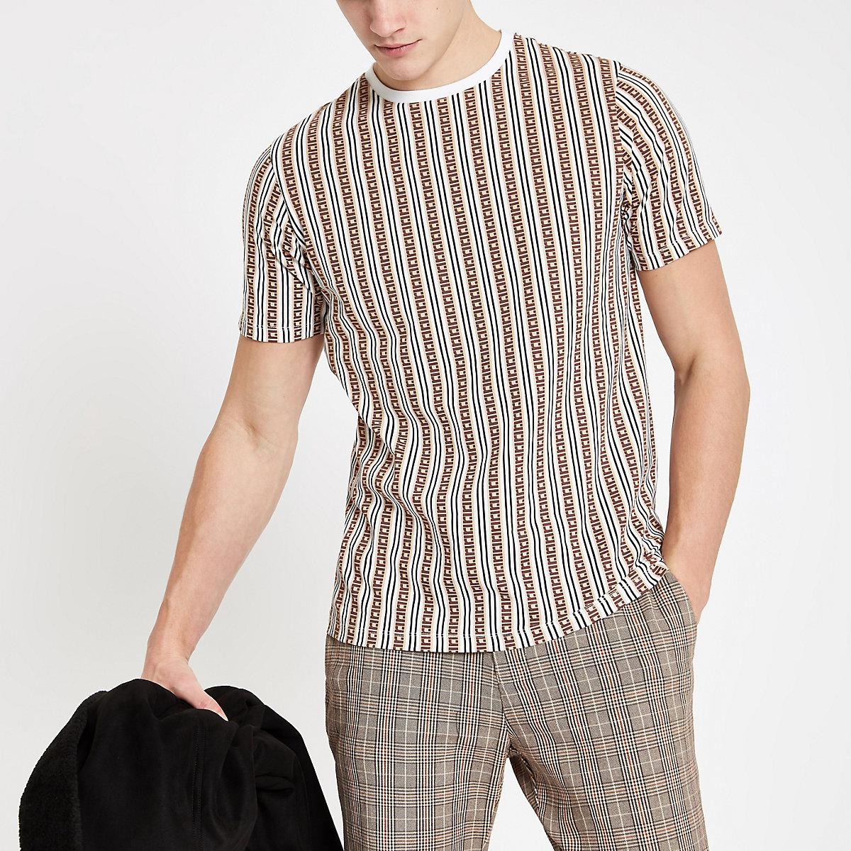 Brown RI monogram stripe slim fit T-shirt