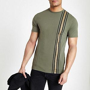 T-shirt slim à bande RI kaki