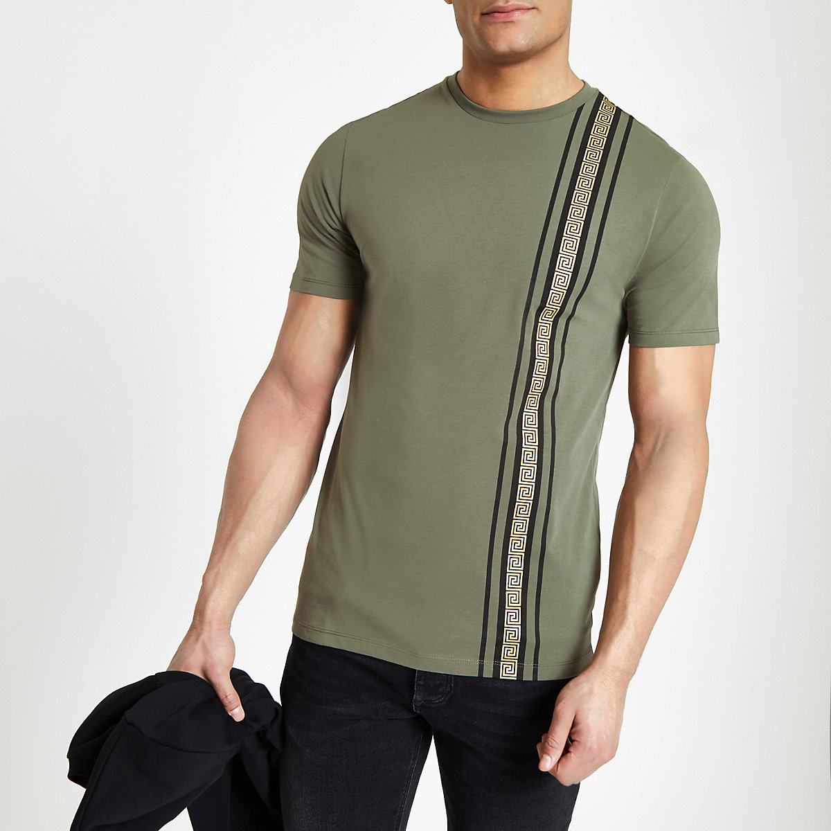 Khaki RI tape slim fit T-shirt