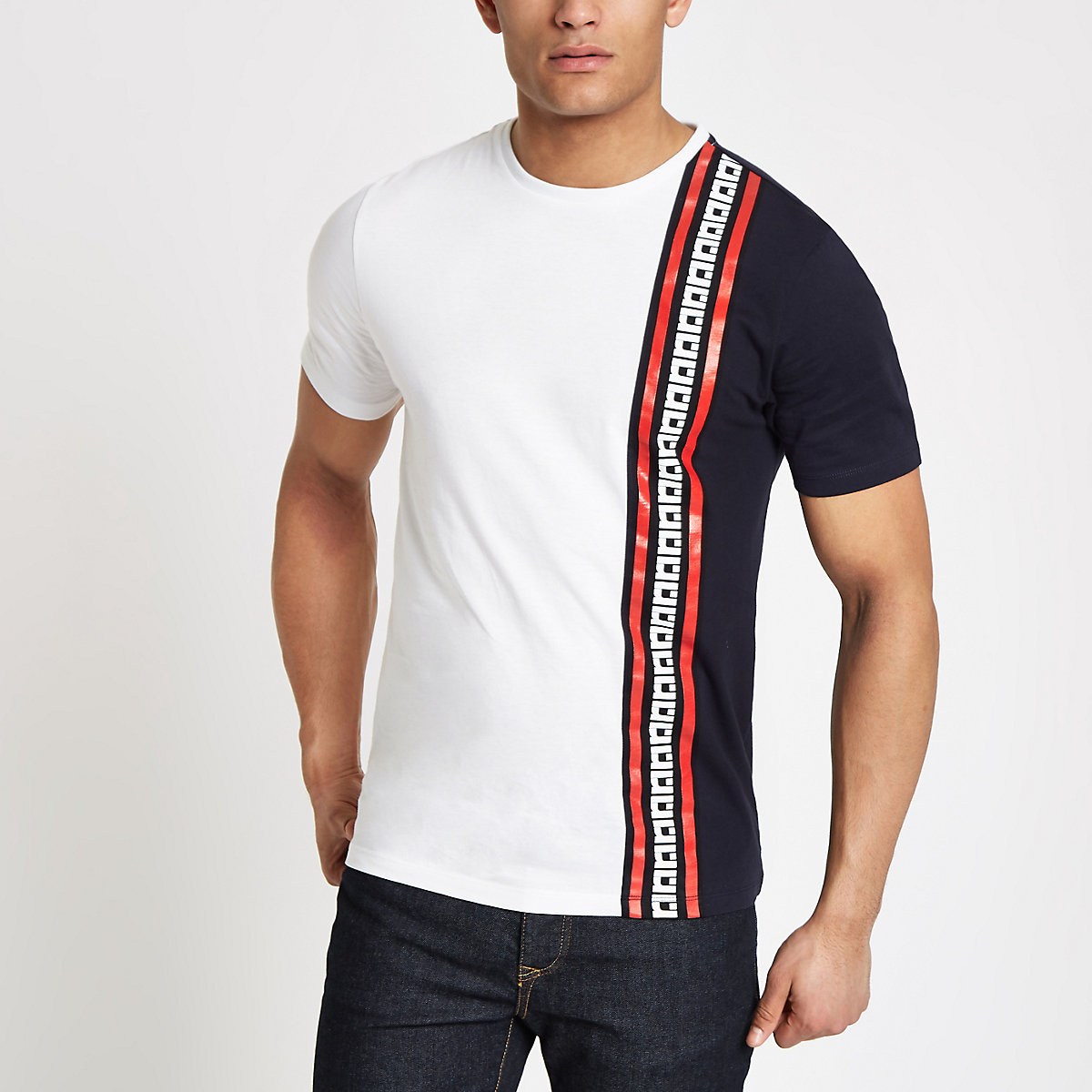 White slim fit RI sash T-shirt