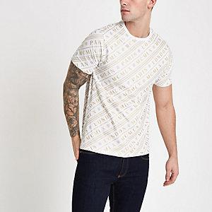 """Weißes Slim Fit T-Shirt mit kurzen Ärmeln """"MCMLX"""""""