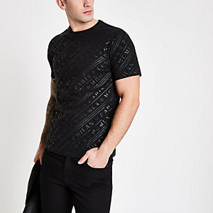Zwart 'MCMLX' slim-fit T-shirt met korte mouwen