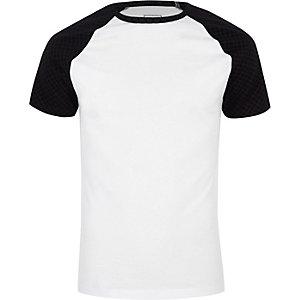 T-shirt ajusté à monogramme RI blanc
