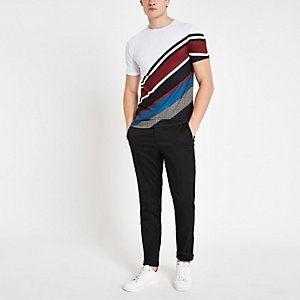 Wit slim-fit T-shirt met diagonale streep