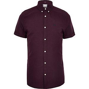 Big & Tall dark red short sleeve Oxford shirt