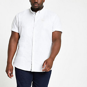 Big and Tall white short sleeve Oxford shirt