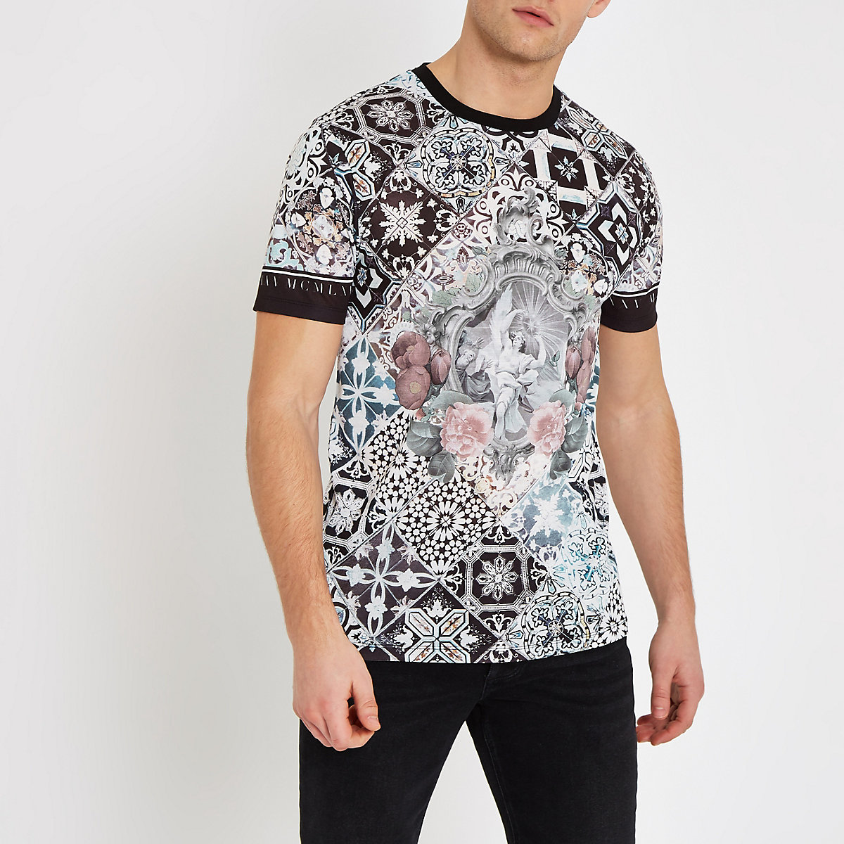 White baroque print slim fit T-shirt